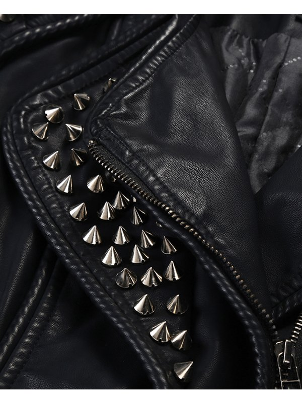 Women's Punk Stylish Black Studded Jacket