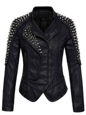 vWomen's Punk Stylish Studded Leather Jacket