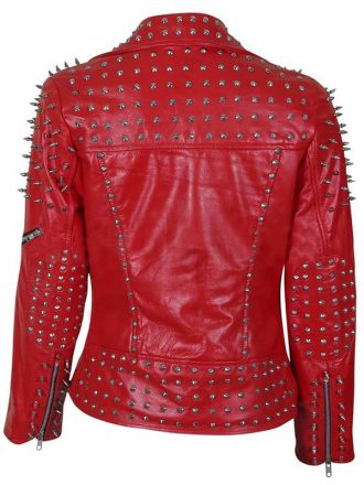 Women's Red Spike Leather Studded Jacket