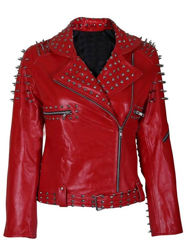 Women's Red Studded Leather Jacket