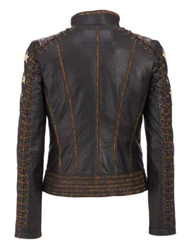 Women's Star Pattern Vintage Style Distressed Brown Leather Biker Jacket
