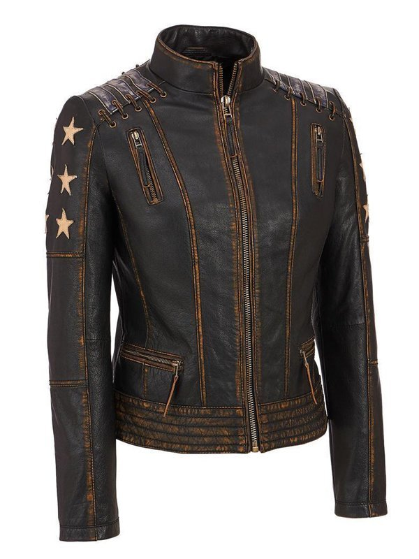 Women's Stars and Stripes Aged Brown Leather Jacket