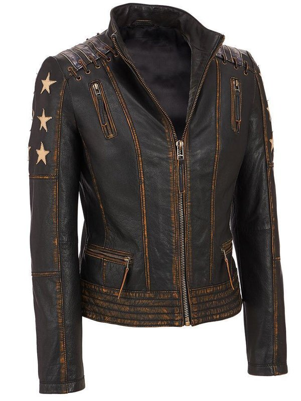 Women's Stars and Stripes Aged Leather Jacket