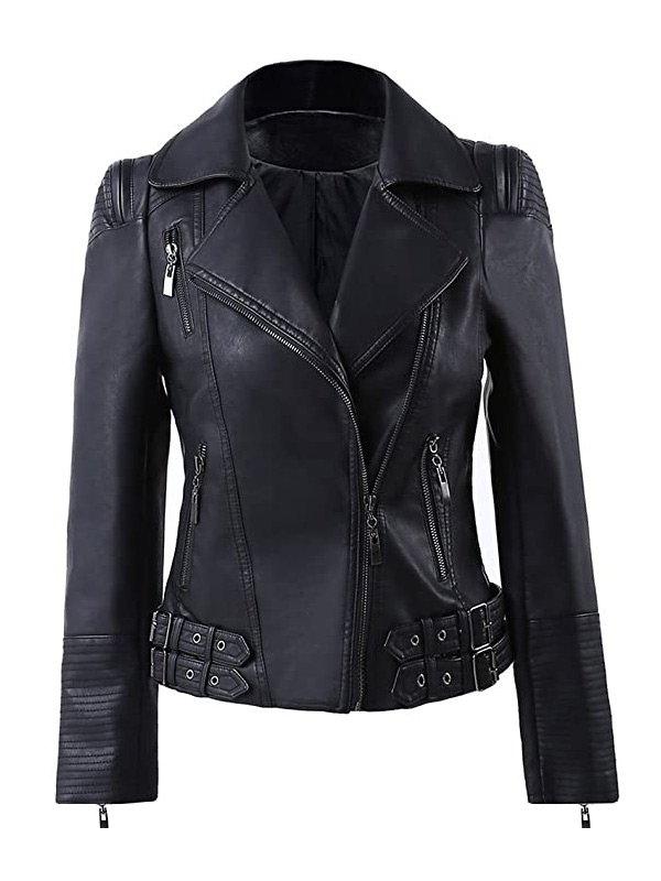Women's Zip Up Moto Biker Leather Jacket