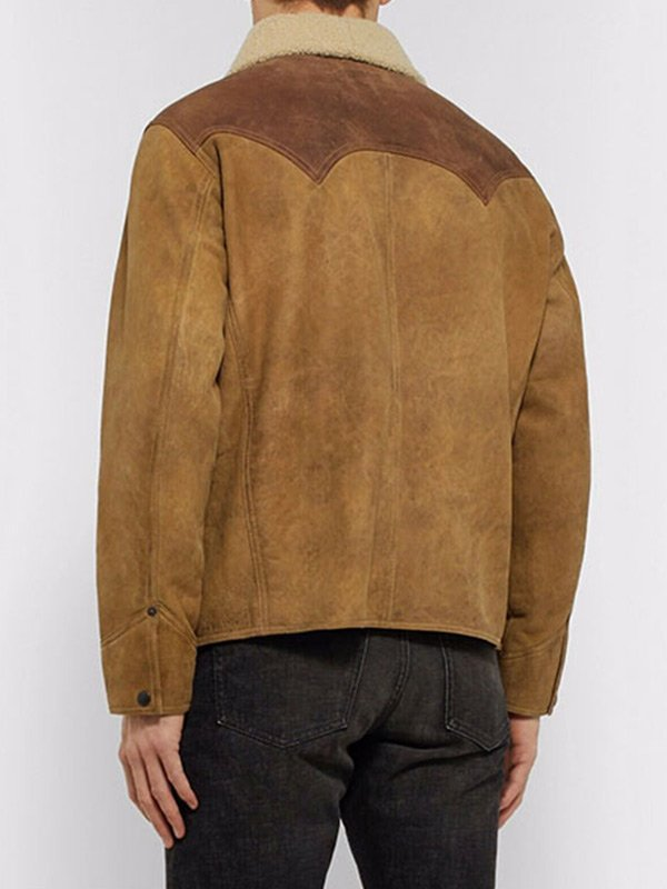Yellowstone John Dutton Shearling Collar Brown Jacket