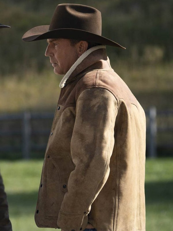 Yellowstone S03 John Dutton Shearling Brown Jacket