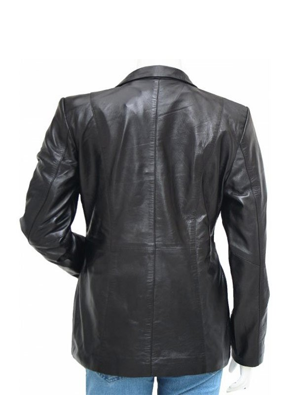 3 Button Black Casual Wear Leather Blazer For Women's