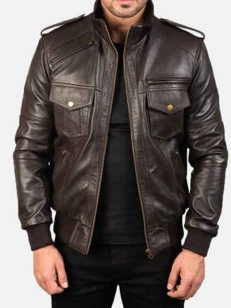 Agent Shadow Leather Bomber Jacket Mens