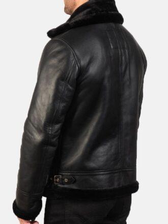 B-3 Shearling Black Leather Jacket For Men's