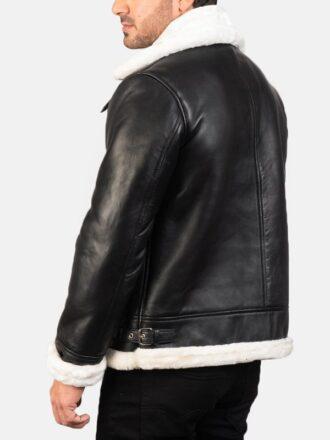 B-3 Shearling Black & White Leather Bomber Jacket For Men's