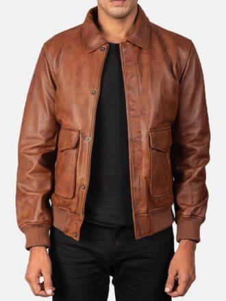 Big Flap Pockets Men's Leather Bomber Jacket