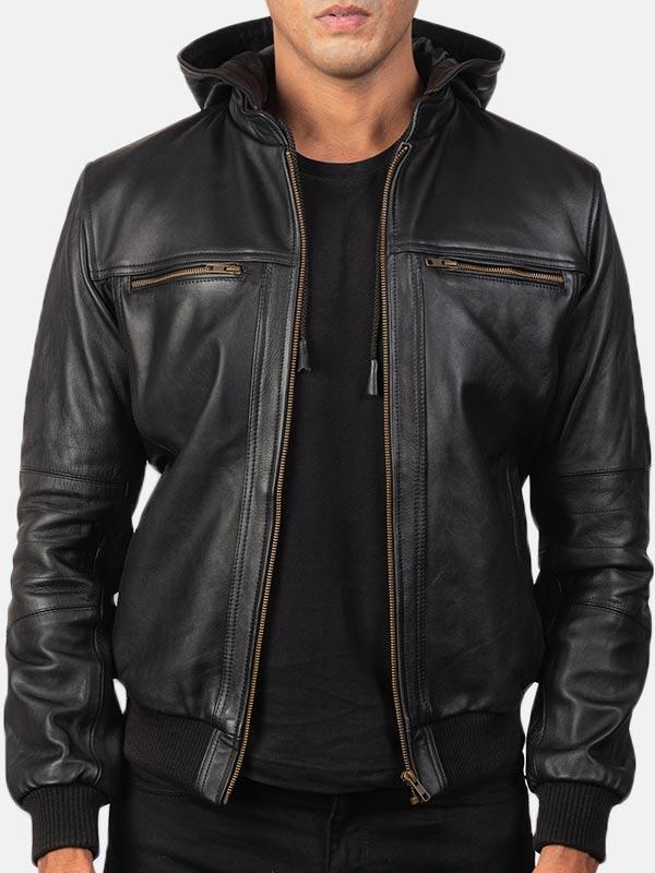 Black Bomber Hooded Leather Jacket For Men's