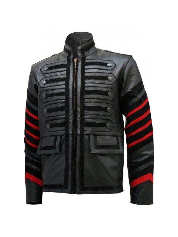 Black Leather Military Jacket For Men's