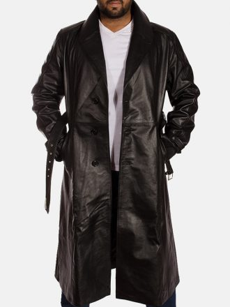 Black Leather Trench Coat For Men's
