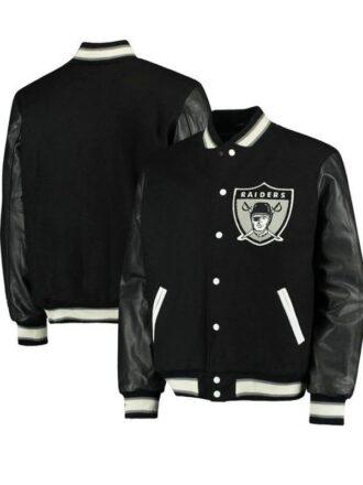 Black Letterman Oakland Raiders Varsity Bomber Jacket For Men's