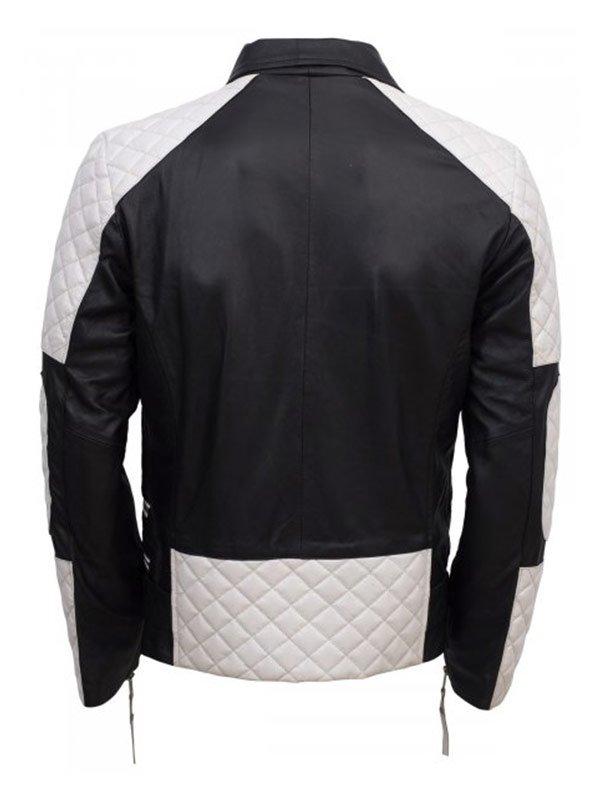 Black & White Biker Style Leather Jacket For Men's