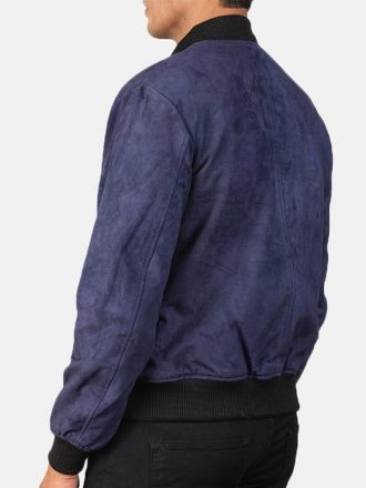 Blue Suede Leather Bomber Jacket For Men's