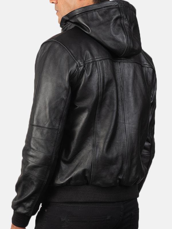 Bouncer Biz Black Hooded Leather Bomber Jacket For Men's