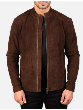 Brown Biker Suede Jacket Mens