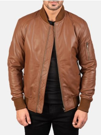 Brown Leather Bomber Jacket For Men's