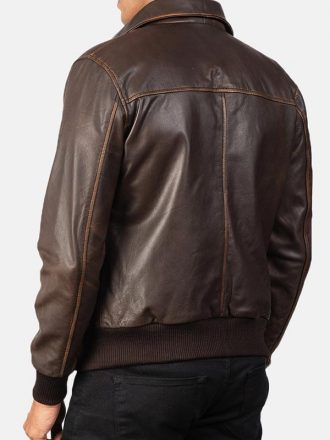 Distressed Brown Leather Bomber Jacket For Men's