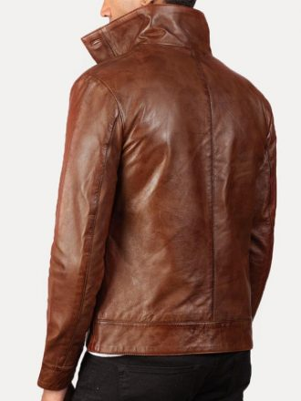 Flap Pockets Casual Brown Leather Bomber Jacket For Mens