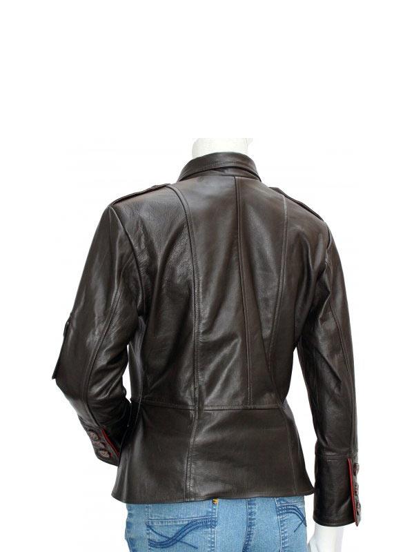 Four Pockets Browm Leather Biker Jacket
