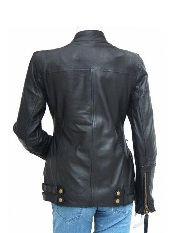 Golden Zipper Black Leather Motorcycle Jacket For Women's