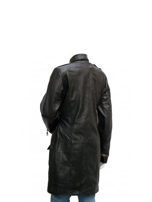 Golden Zipper Black Mig Length Leather Coat For Women's