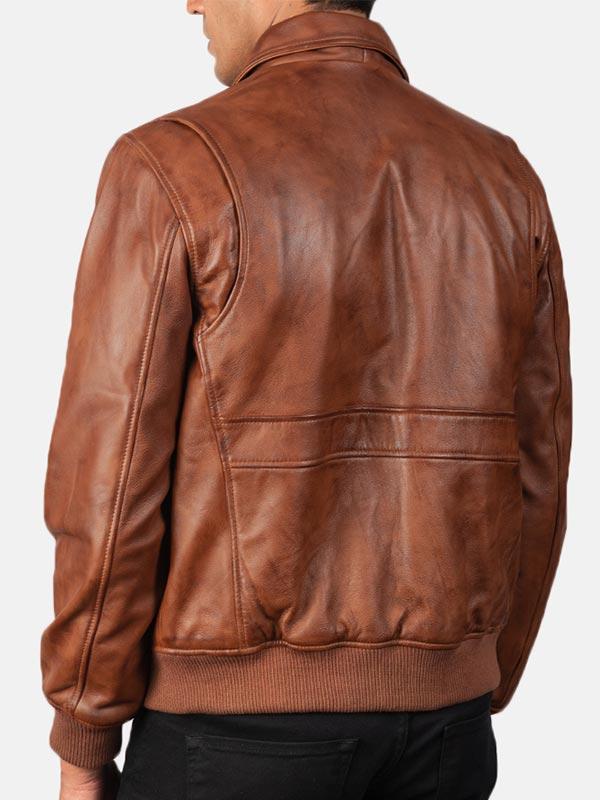 Large Flap Pockets Brown Leather Bomber Jacket For Men's