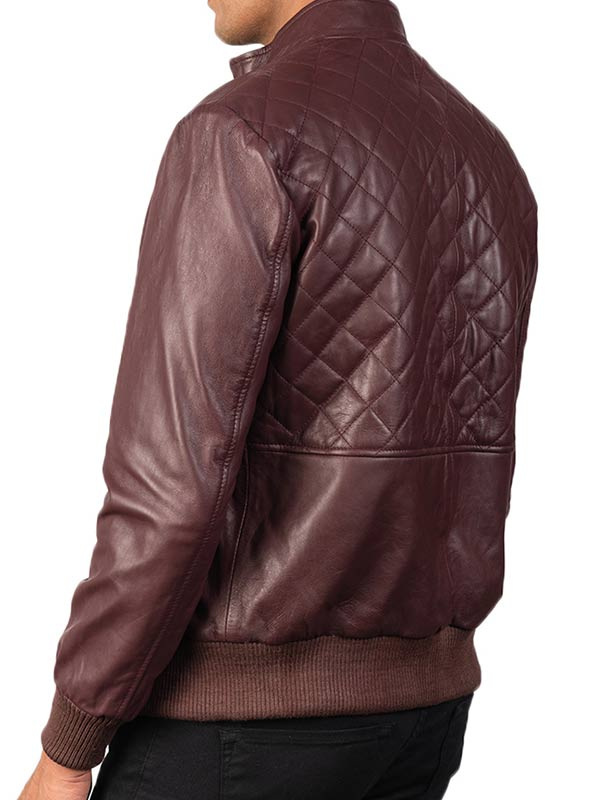 Maroon Leather Quilted Bomber Jacket Men
