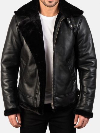 Men's B-3 Black Sheepskin Leather Bomber Jacket