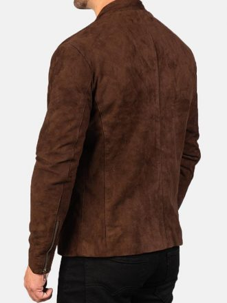 Men's Biker Style Brown Suede Leather Jacket