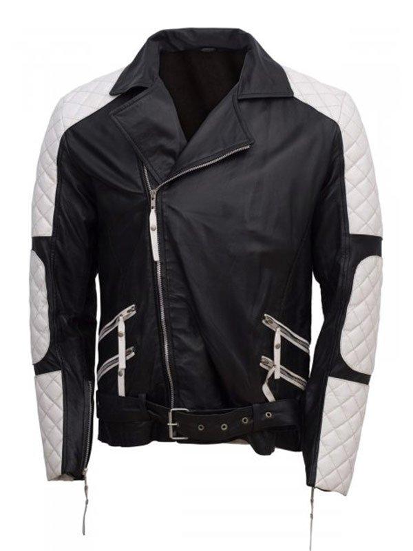 Men's Black & White Biker Leather Jacket