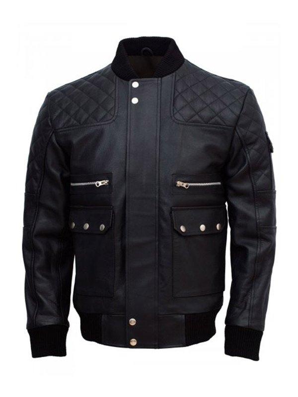 Men's Black Work Wear Leather Jacket
