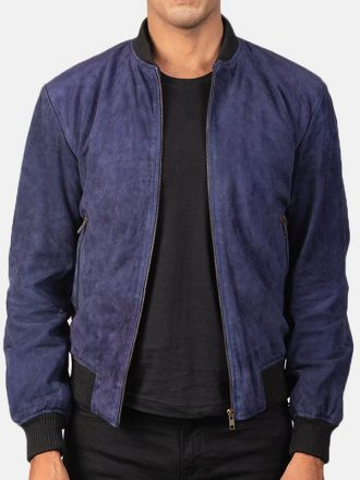 Men's Blue Bomber Suede Jacket