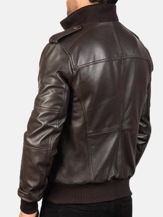 Men's Brown Agent Shadow Leather Bomber Jacket