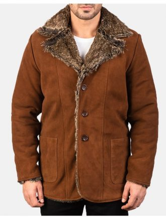 Men's Brown Suede Faux Fur Coat