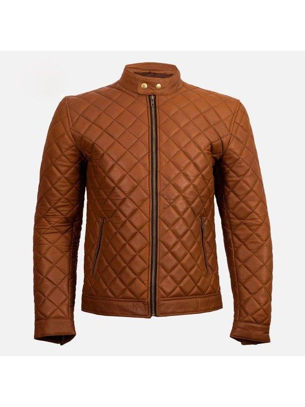 Men's Cafe Racer Quilted Brown Jacket