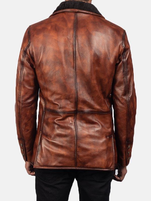 Men's Distressed Brown Fur Leather Coat