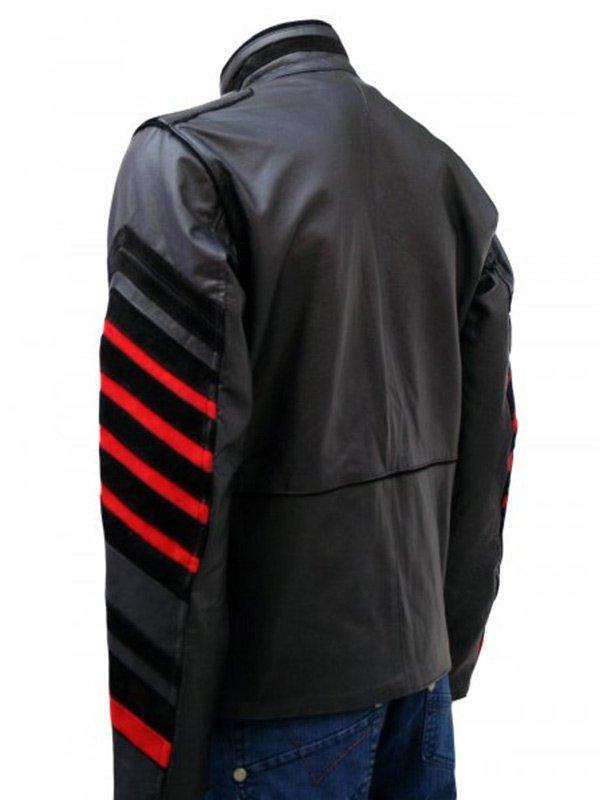 Men's Fashion Black Military Style Leather Jacket