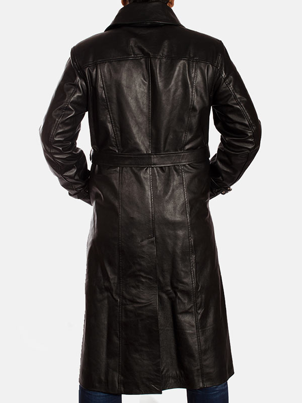 Men's Long Leather Black Trench Coat