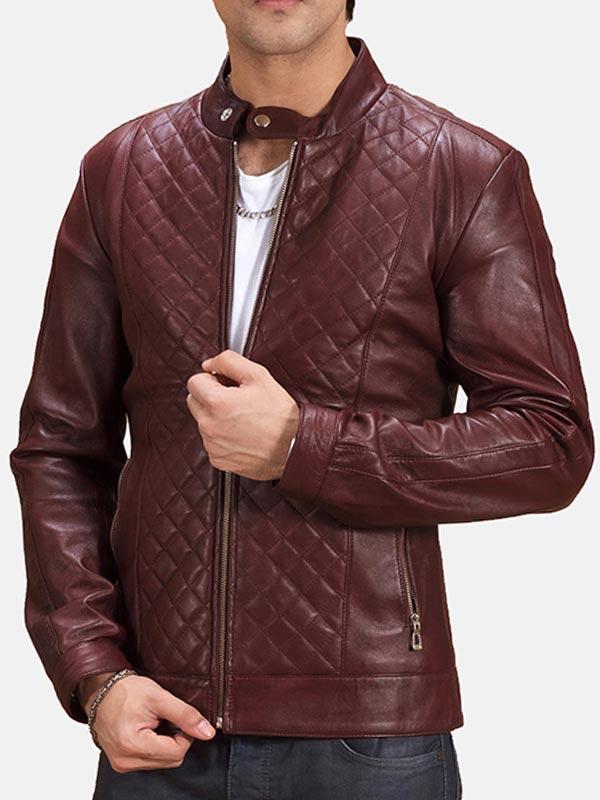 Men's Maroon Quilted Leather Biker Jacket