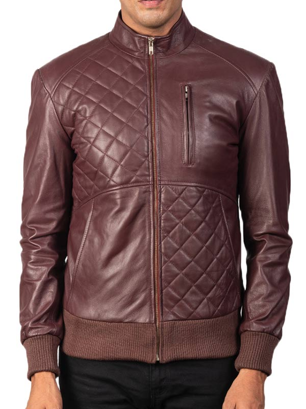 Men's Maroon Quilted Leather Bomber Jacket