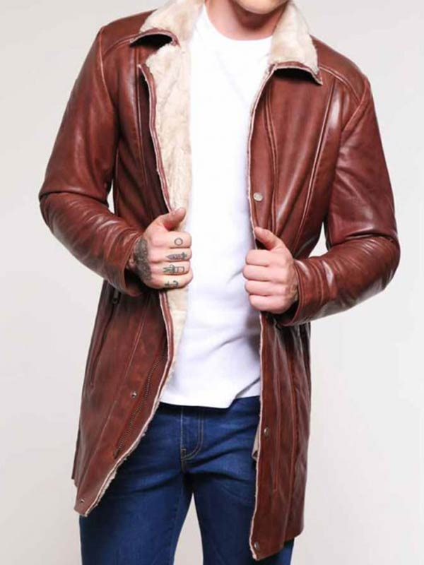 Mens Mid-Length Shearling Leather Coat