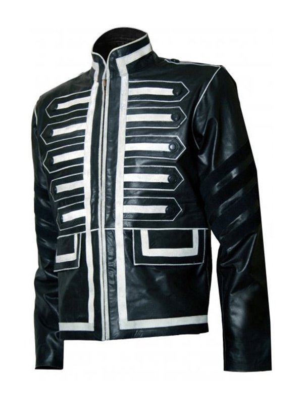 Men's Military Style Leather Jacket