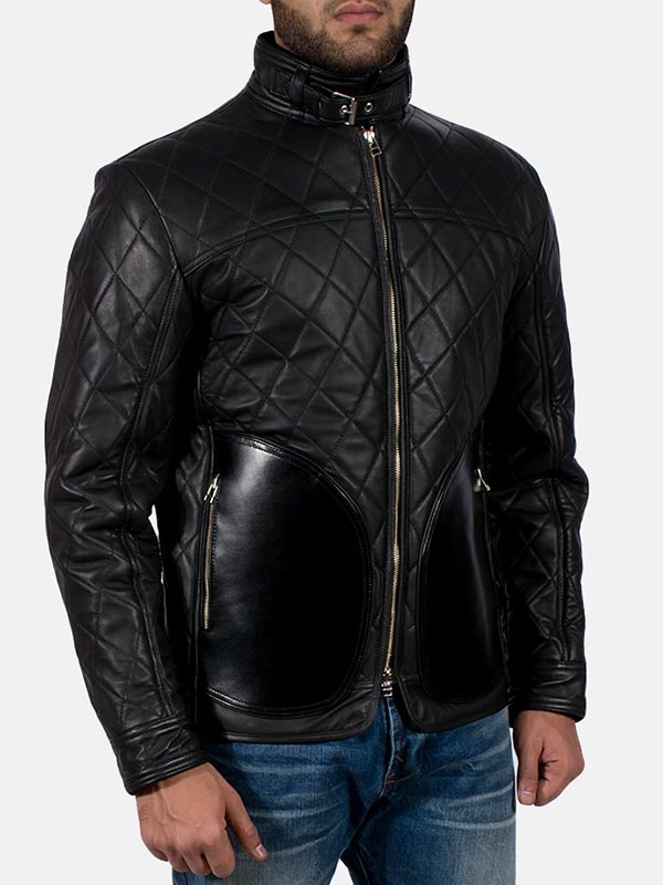 Men's Quilted Style Mate Black Leather Jacket