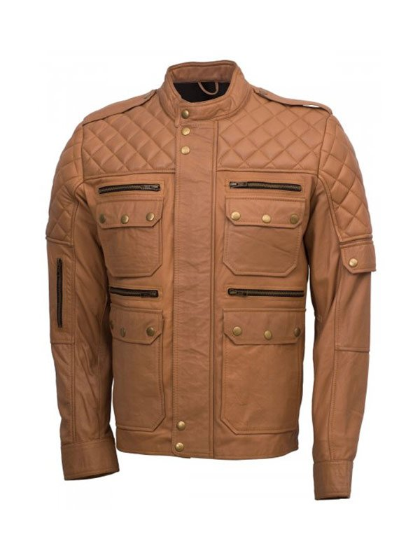 Men's Quilted Style Tan Sheepskin Jacket