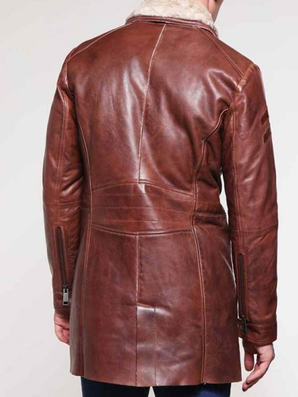 Mens Shearling Brown Mid-Length Leather Coat