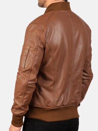 Men's Tan Brown Leather Bomber Jacket